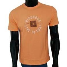 Imagem de Camiseta Nicoboco Masculina Estampa Frontal Live to Surf - Laranja