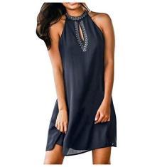 Imagem de SLENDIPLUS Mini vestido feminino de verão 2021 plus size com alças e gola redonda sexy na cintura para balada, , XXG