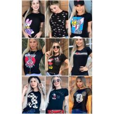 Imagem de Kit C/10 T-shirts Blusa Roupas Femininas Moda Blogueira