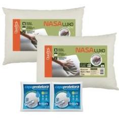 Imagem de Kit 2 Travesseiros Nasa Alto Luxo 50x70cm Duoflex com 2 Capas Protetoras