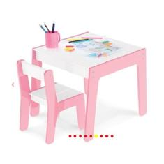 Imagem de Conjunto Mesa Infantil Em Madeira Com Cadeira Rosa Mesinha Didatica - Junges