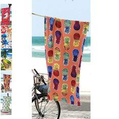 Imagem de Toalha De Praia Aveludada Velour Colorful Pineapples Döhler