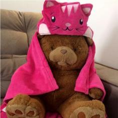 Imagem de Manta Capuz Bouton Infantil Microfibra Tigresa Antialérgico Pink