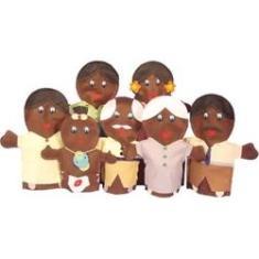 Imagem de Kit de Fantoches em Feltro - Família Negra