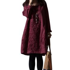 Imagem de Tamanho do plugue feminino moda algodão linho vestido longo casual solto vestido O pescoço