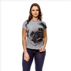 Imagem de Camiseta Cachorro Pug Bege Baby Look GY