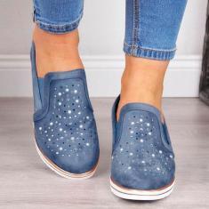 Imagem de Sapatos femininos selvagens respirável Slope salto oco Rhinestone Calados Esportivos desconto-Majito