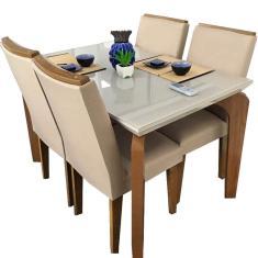 Imagem de Mesa de Jantar Londrina com 4 Cadeiras Imbuia Off White Rufato Móveis