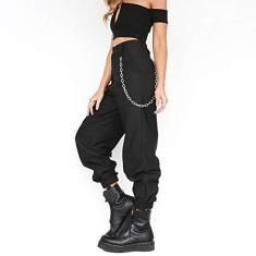 Imagem de Calça feminina RUIQIMAO, casual, solta, calça comprida hippie de cintura alta, calça cargo esportiva, estilo harém