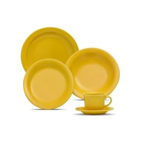 Aparelho de Jantar Redondo de Cerâmica 30 peças - Floreal Yellow Oxford Porcelanas