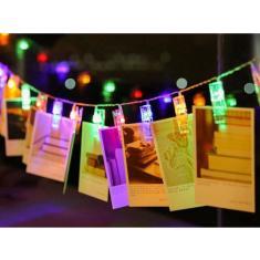 Imagem de Varal Led 10 Pregadores Colorido p/ Fotos Cordão 2m