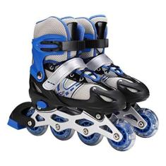 Imagem de TBEONE Patins ajustáveis em linha para crianças e adultos 3 em 1 patins leves para iniciantes, patins de gelo