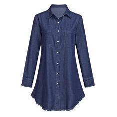 Imagem de Kantenia Vestido Longo e fino para Mulheres Vestidos Denim Shirt Botão Baixo com Pockets Distraído Jean Dress Casual Tunic Top