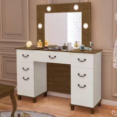 Imagem de Penteadeira Camarim Com Led Espelho E Porta Joias 100% Mdf Seul Malbec Off White