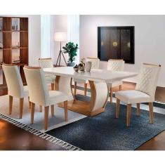 Imagem de Conjunto De Mesa De Jantar Com 6 Cadeiras Estofadas Maia I Veludo Off White E Creme