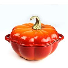 Imagem de DUDDP Panela de cozinha esmaltada de ferro fundido, panela de abóbora de 24 cm, panela de sopa antiaderente doméstica, prato de caçarola multifuncional, pode ser aplicável para fritura a vapor, assar, grelhar assar