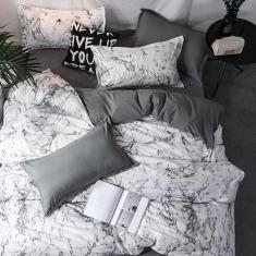 Imagem de Jogo de cama solteiro king 7 peças com edredom mármore decor