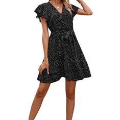 Imagem de Springcmy Vestido feminino de verão de manga curta com decote em V, de bolinhas, com cadarço e cinto, , G