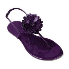 Imagem de Sandália Mercedita Shoes Flat Com Flor Verniz Uva