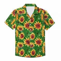 Imagem de Linda camiseta havaiana brilhante masculina com estampa de girassol para primavera e verão Aloha, Girassol  verde ferrugem, 4XG