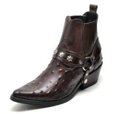 Imagem de Bota Country Masculina Bico Fino Top Franca Shoes Cafe Avestruz