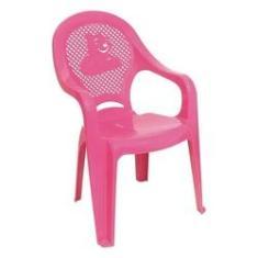 Imagem de Cadeira de Plástico Infantil Decorada Rosa