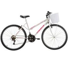 Bicicleta Track & Bikes 18 Marchas Aro 26 Freio V-Brake Serena com Cesta