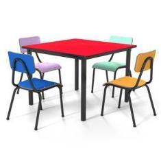 Imagem de Conjunto Escolar 80x80cm Juvenil Colorido Mesa