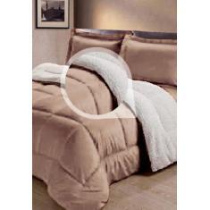 Imagem de Cobertor Sherpa 2 em 1 Tipo Pele de Carneiro Casal Queen Anti-Frio Bege Cotex