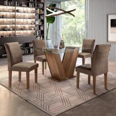 Imagem de Conjunto Sala De Jantar Mesa Tampo De Vidro E 4 Cadeiras Classic Cel Móveis Chocolate/Animale Marrom 52