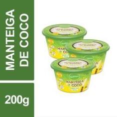 Imagem de Manteiga Coco Sabor Coco Sem Sal QualiCoco 200g Kit 3un