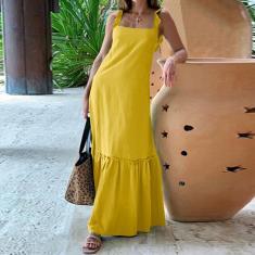 Imagem de Vestido longo feminino com alça espaguete vestido longo babado casual solto vestido maxi plus size  L