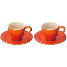 Imagem de Jogo de 2 Xícaras Espresso, Laranja, Cerâmica, Le Creuset