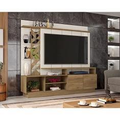 Imagem de Estante Home Theater para TV até 65 Polegadas Sala de Estar Vivaz Nature/Off White - Frade Movelaria