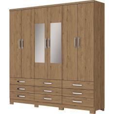 Imagem de Guarda-Roupa Casal 6 Portas 9 Gavetas com Espelho Lara 101-10 Henn
