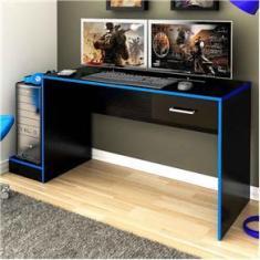 Imagem de Mesa Gamer Stone Ideal Para 2 Monitores Preto/azul - Pnr Móveis
