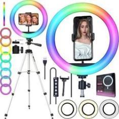 Imagem de Ring Light Led Luz Iluminador Rgb Colorido Tirar Foto Gravações de Vídeos Celular Tripé Pedestal Profissional Universal