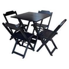Imagem de Jogo De Mesa Dobrável Com 4 Cadeiras De Madeira Ideal Para Bar E Restaurante