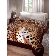 Imagem de Cobertor Casal Jolitex Kyor Plus Soft Leopardo em Microfibra - Marrom