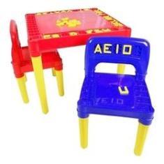 Imagem de Mesa / Mesinha Infantil 2 Cadeiras Plástica Educativo Tritec