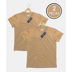 Imagem de 2 Camisetas T-shirt Básica Algodão Gola Redonda Hilios Bege