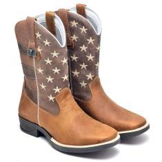 Imagem de Bota Texana Masculina Couro Sola Borracha Country Conforto Marrom