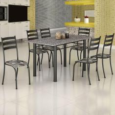 Imagem de Conjunto De Mesa Itália 1,40M Tampo Granito Com 6 Cadeiras 591/15 Madmelos Craquelado Dark / Folha