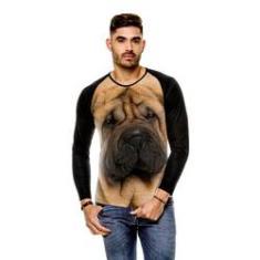 Imagem de Camiseta Raglan Cachorro Sharpei Bege Manga Longa
