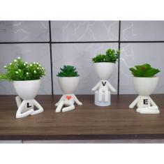 Imagem de Kit Com 4 Vasos Decorativos Robert Plant Bob (cor: ) - Love - Amor - Ideal para suculentas e mini cactos