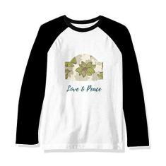 Imagem de DIYthinker Camiseta raglan manga longa com tinta de planta verde marrom, Multicor, M