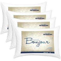Imagem de Kit Travesseiros 04 Peças Bonjour Fibra Siliconizada Em Microfibra 70cm X 50cm - Ortobom
