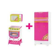 Imagem de Kit Microondas Fogão Geladeira Cozinha Infantil Brinquedo