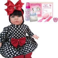 Imagem de Bebê Reborn Boneca  Doll Realist Vestido Poá Mamãe Cheguei