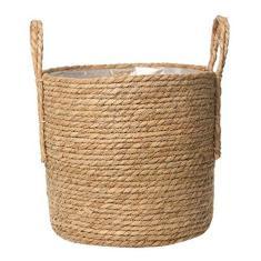 Imagem de HEMOTON Cesto de plantas com palha de vime, vaso de flores decorativo, vaso de flores, vasos de plantas, cesta de armazenamento de tecido com alça